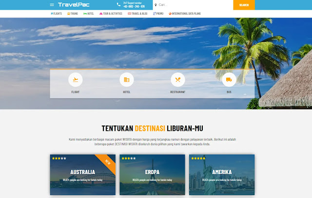 TravelPac Responsive Landing Page Business Travel Destinations Blogger Template Theme