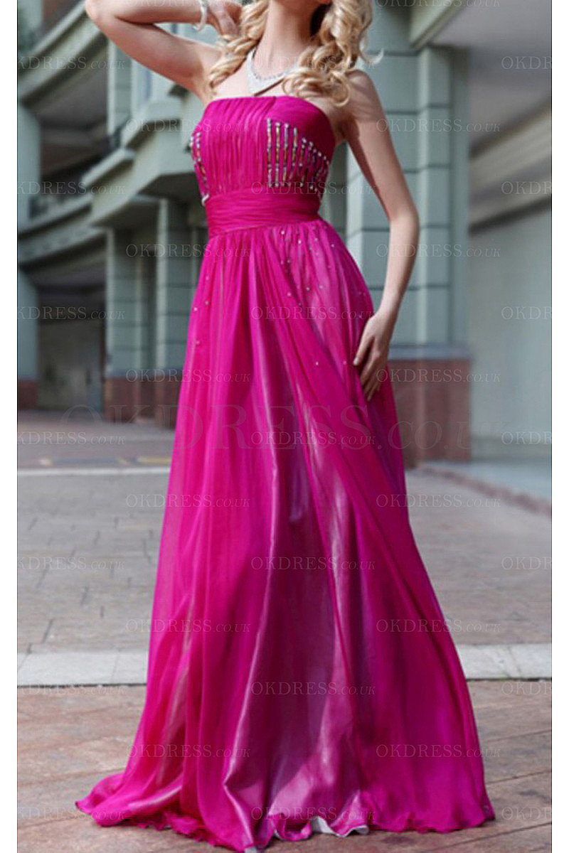 Remarkable Purple Strapless Sleeveless Chiffon A-line Evening Dresses
