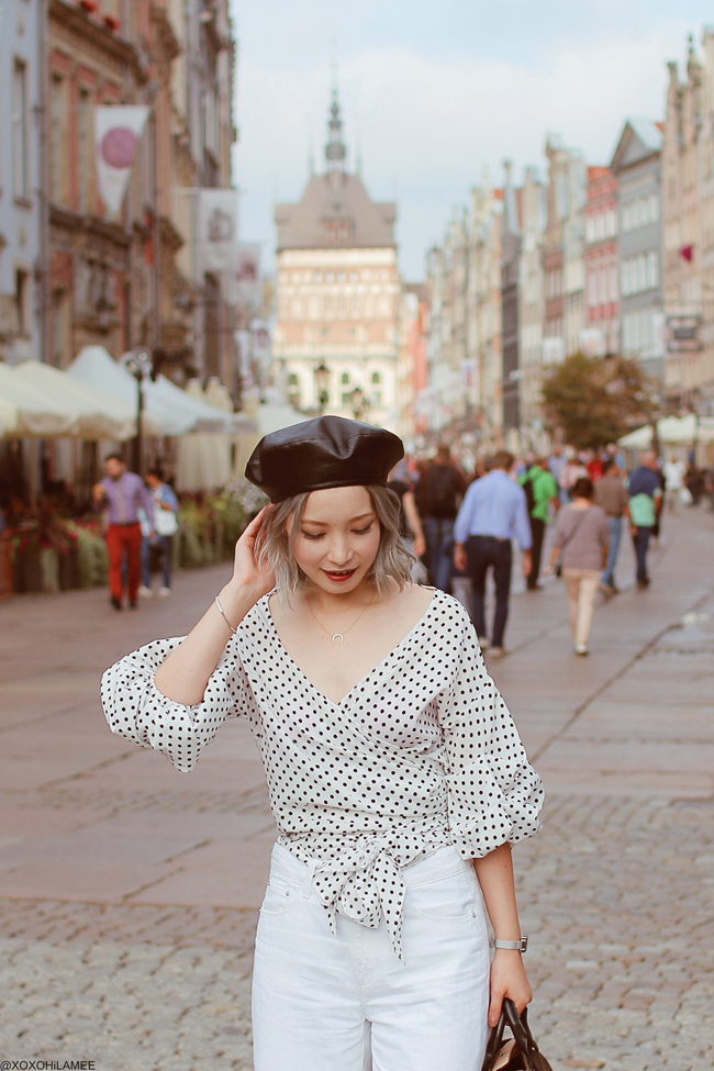 Japanese Fashion Blogger,MizuhoK,20180907OOTD in poland, Gdansk, SheIn=dot dress(top), ZARA= white denim culotte,black/beige hand bag GU=mules, ungrid=fake leather beret hat, Olivia Burton=watch, Shashi=necklace,bracelet