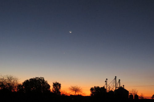 sunrise, moon, Venus