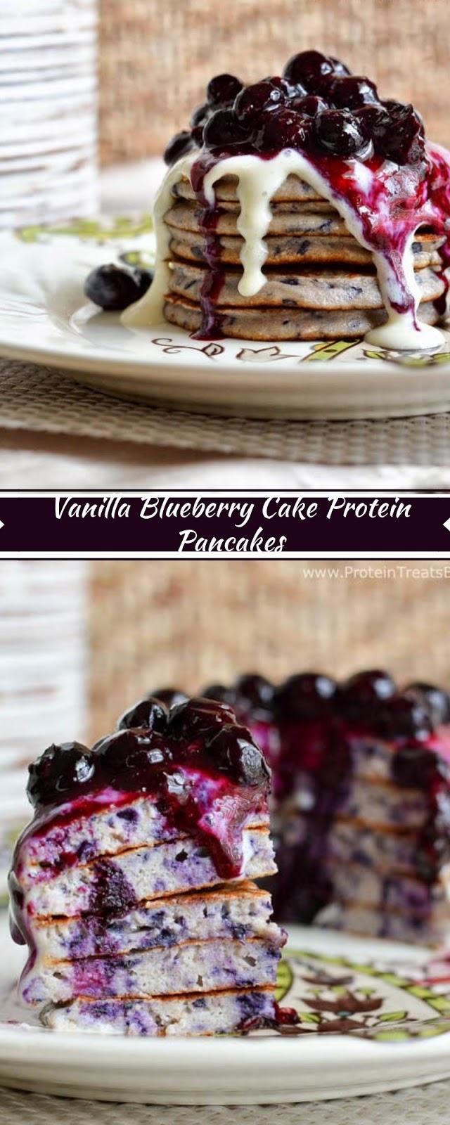Vanilla Blueberry Cake Protein Pancakes