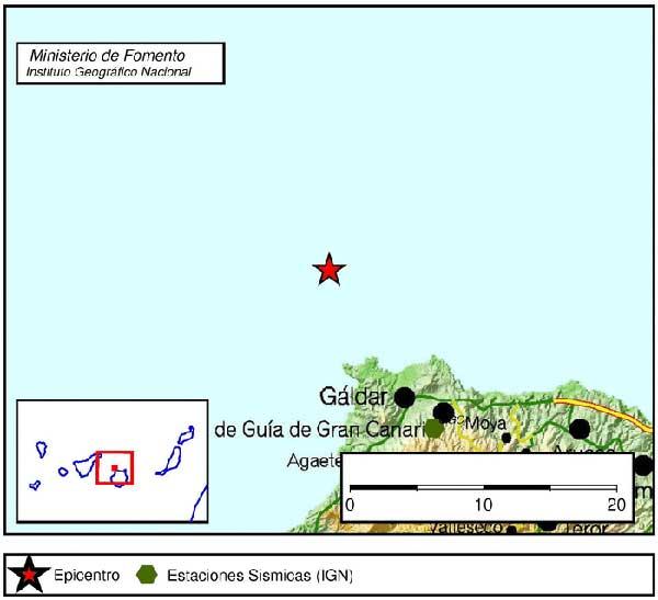 Terremoto Noroeste de Gáldar, Atlántico Canarias