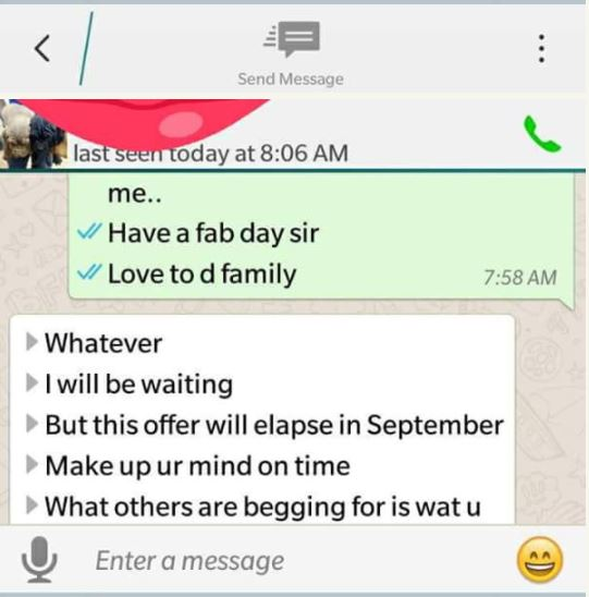 [Sad] Married Man Exposed On Facebook After Begging His Wife's Friend for S*x (See WhatsApp Chat) bunm7
