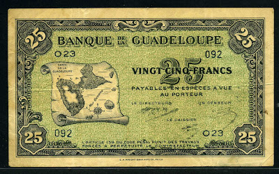 Guadeloupe 25 Francs Map banknotes currency collection