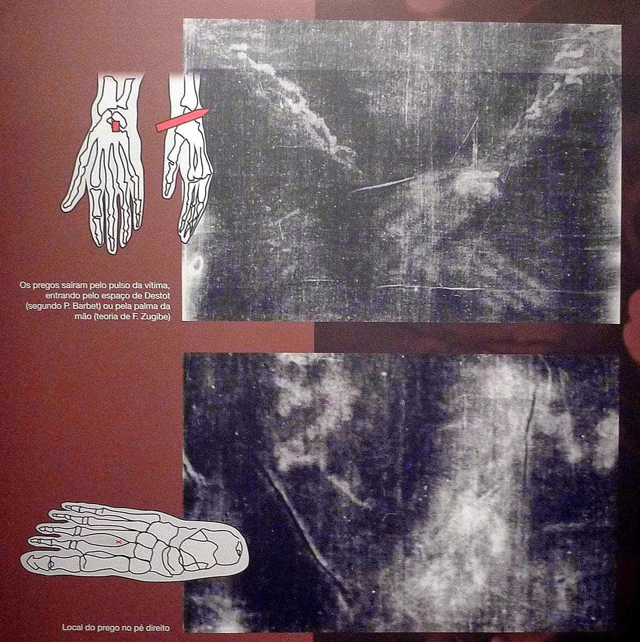 O Homem do Sudário, feridas das mãos e do pé provocadas pelos pregos