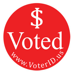 Red circular sticker that says $ Voted instead of I voted