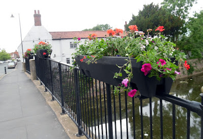 Colourful Brigg in Bloom 2018 flowers on the County Bridge near the White Hart pub - see Nigel Fisher's Brigg Blog