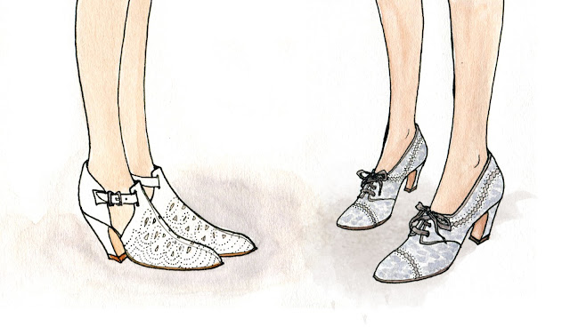 watercolor fashion illustration shoes facing each other