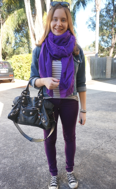 winter double denim with purple skinny jeans stripe tee converse and matching scarf | AwayFromBlue