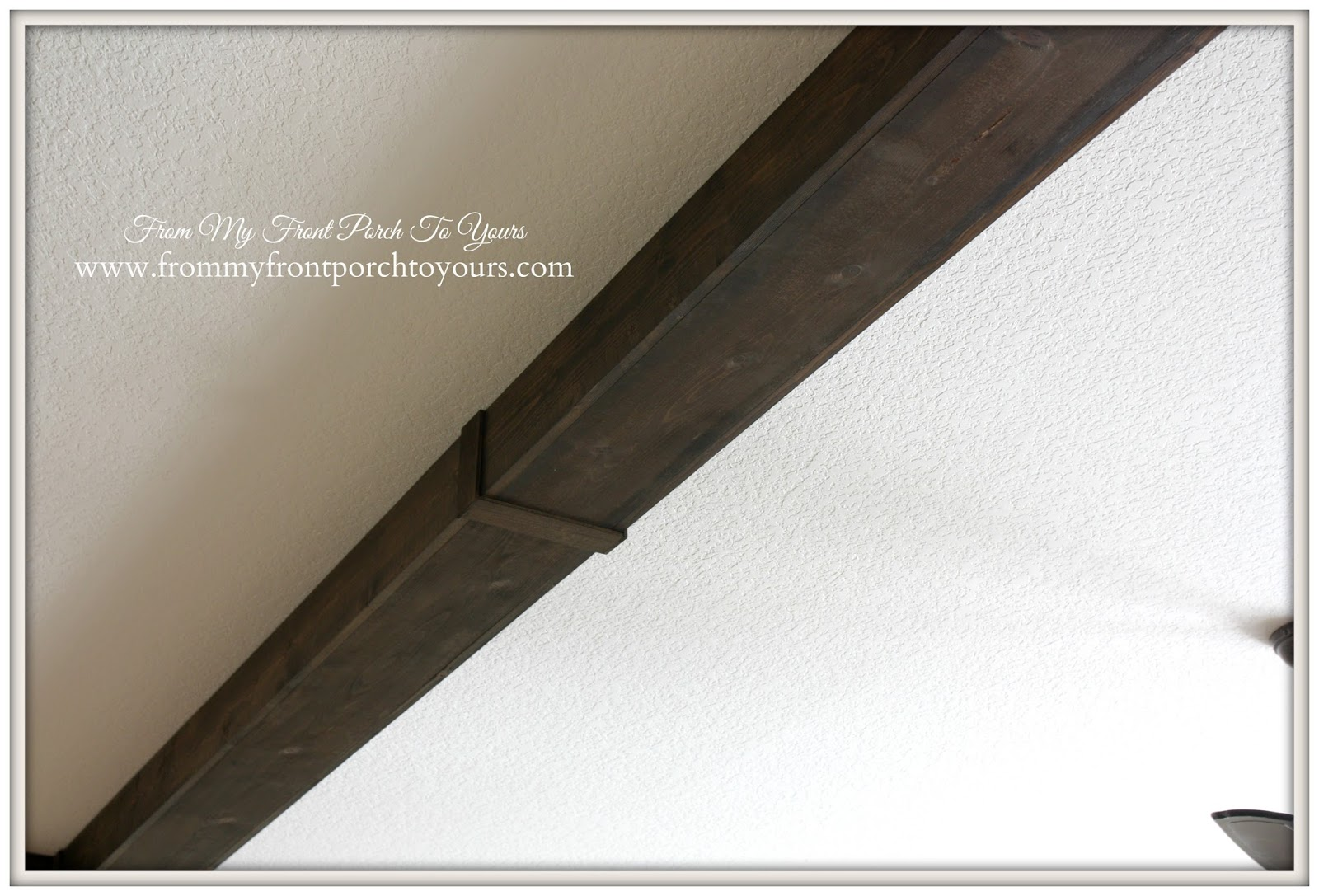 Step by step on how we created our wood beams for the living room- From My Front Porch To Yours.