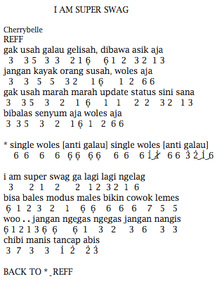 Not Angka Pianika Lagu CherryBelle I Am Super Swag