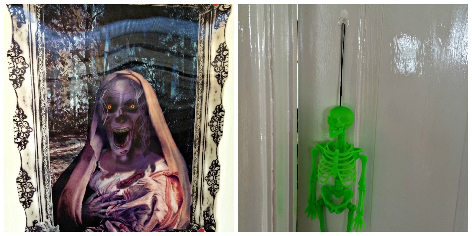 picture hanging solutions - scary poster and hanging green skeleton
