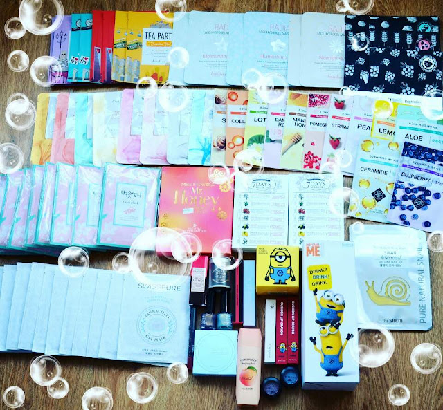Kbeauty haul, SwissPure Panacotta Gel Mask, Mamonde Flower Essence Mask, Minions makeup haul