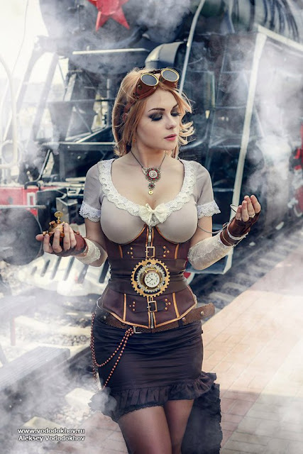 sexy steampunk fashion for women, goggles, corset, skirt, necklace, gloves
