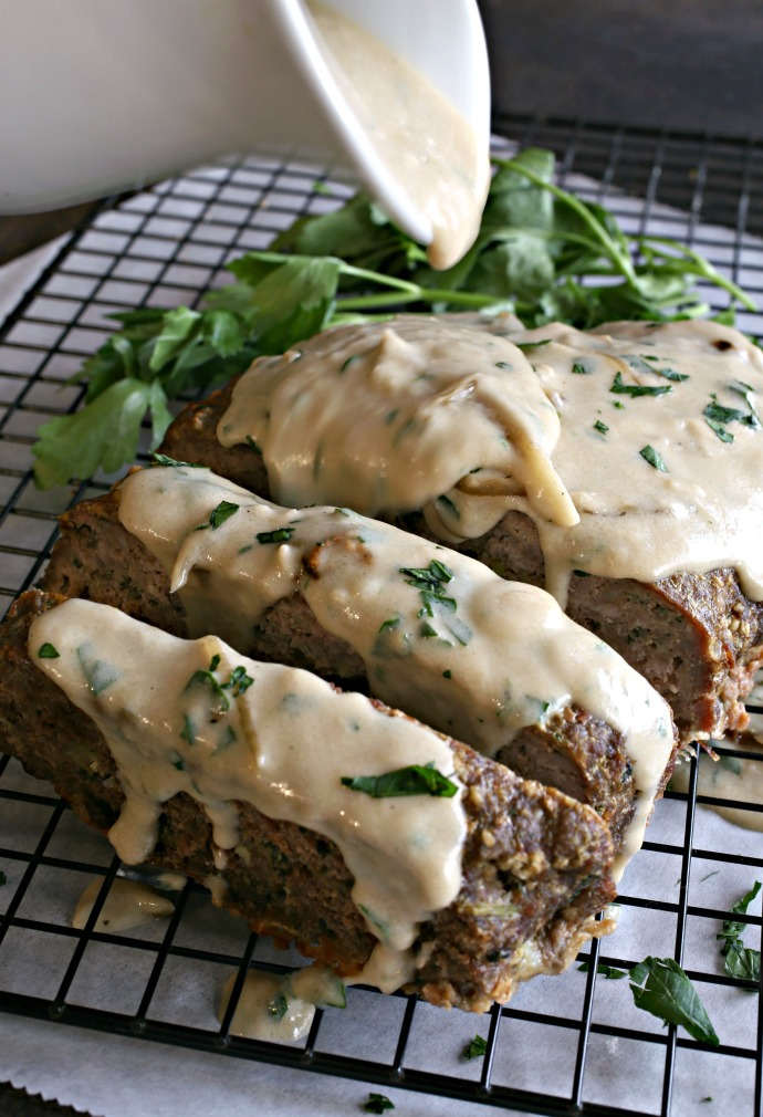 Meatloaf flavored with caramelized onions, fresh thyme and Gruyere cheese.