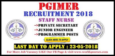 PGIMER Recruitment 2018 Staff Nurse ,Private Secretary, Junior Engineer, Programmer Posts