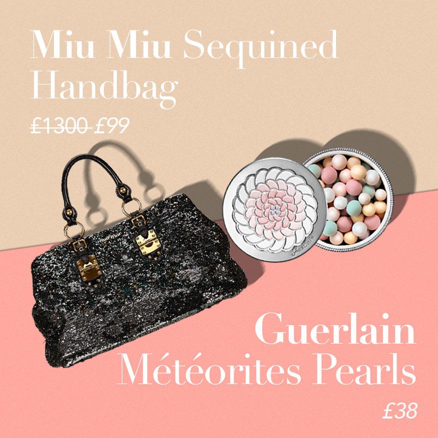 Miu Miu Sequined Tote or Guerlain Météorites Pearls?