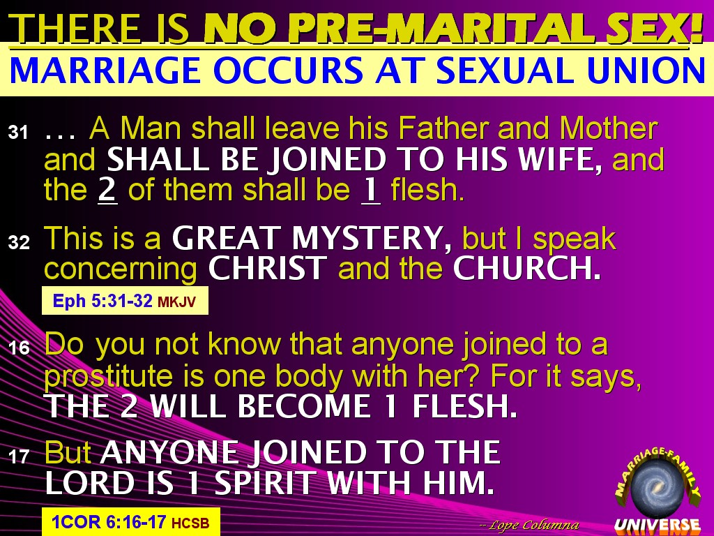 Are mistaken. No sex before marriage in the bible think, that