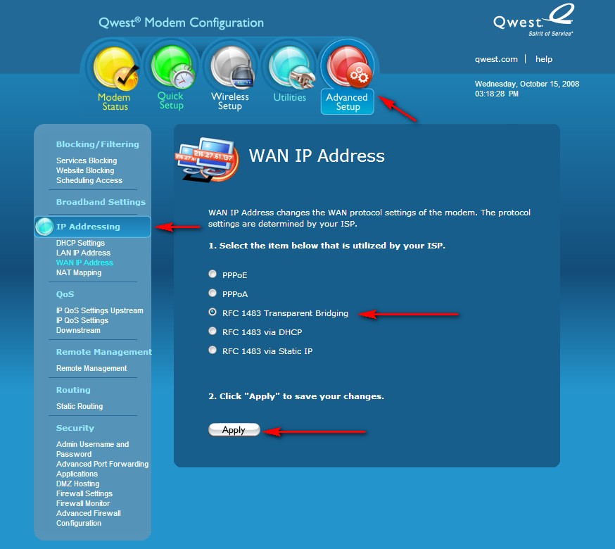 Ranjith INFO: Configure Bell's 2Wire modem as Access point