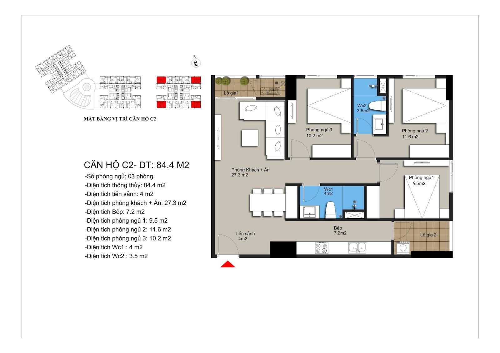 Căn hộ số 03,09,14,19 rộng 85,2m2 tòa CT2