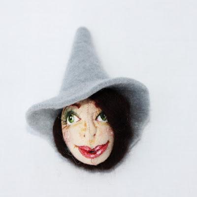 Witch art doll brooch