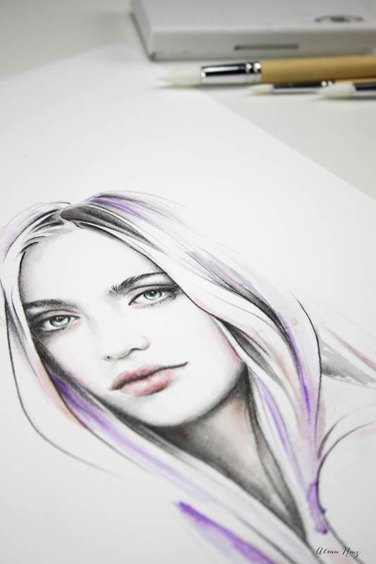 Ilustración a lápiz de grafito y acuarela