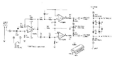 Simple Active crossover Circuit Diagram with TL074 on