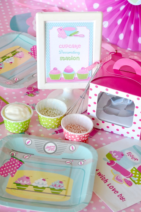 Pink Cupcake Baking Birthday Party Ideas and Printables | BirdsParty.com