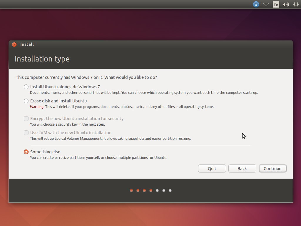 Ubuntu Installation Type selection - screenshot