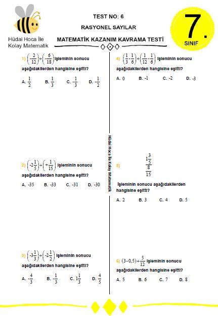 7 Sinif Rasyonel Sayilar Test No 6 Hüdai Hoca Ile Kolay Matematik