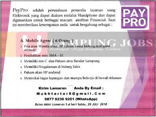 Loker Lampung Terbaru di PAYPRO Juli 2018
