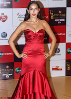 Nora Fatehi  in a Deep nbeck Leg Split Maroon Designer Gown  Walk the Red Carpet of Zee Awards 2017i ~  Exclusive Galleries 032.jpg