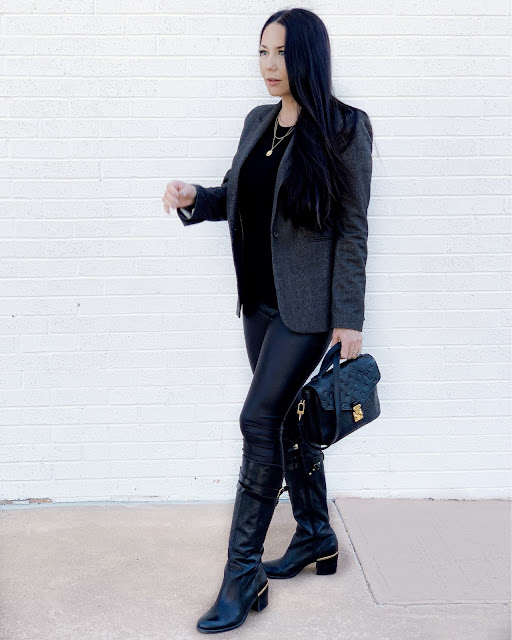 The perfect pair of Riding Boots with Gold Hardware Detail, paired with faux leather leggings, comfy top and chic plaid blazer www.MalenaHaas.com