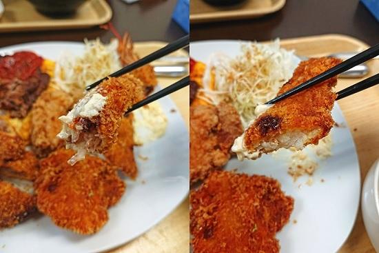 たいしょうスペシャルランチのエビフライと魚フライの写真