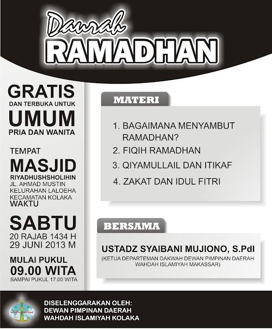 Hadirilah..!!! Daurah Ramadhan