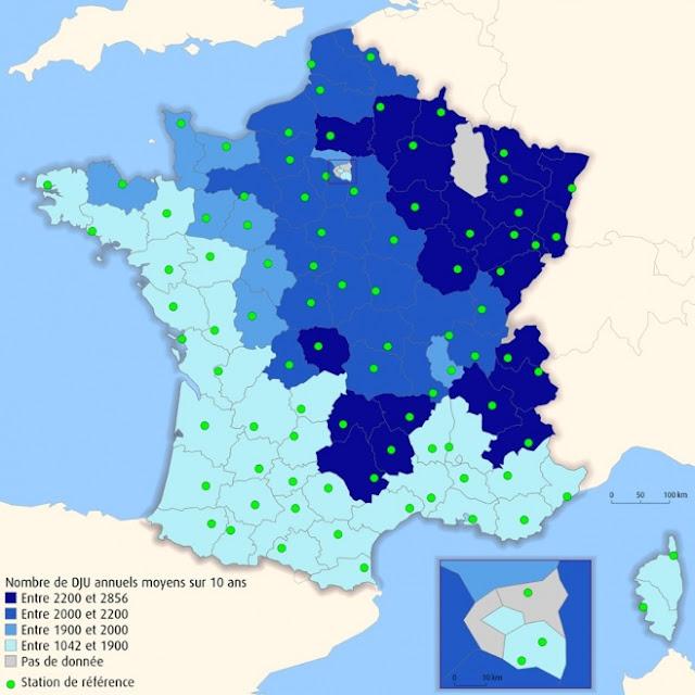 Nombre de DJU annuels moyens sur 10 ans par stations départementales