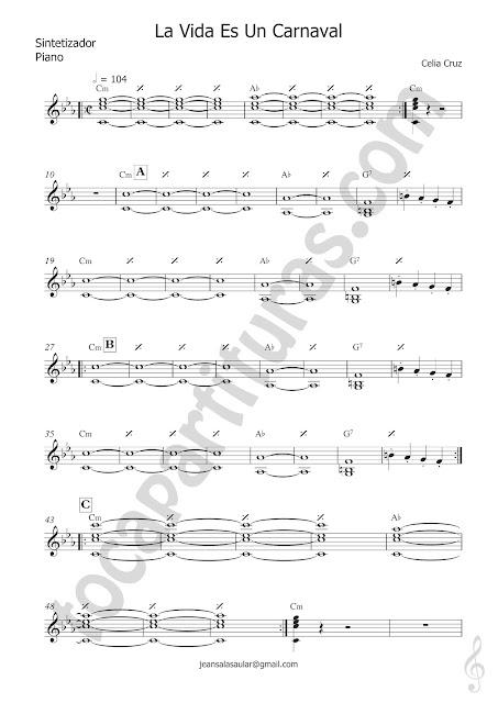 La Vida es un Carnaval Partitura de Sintetizador, Teclados o Piano Sheet Music