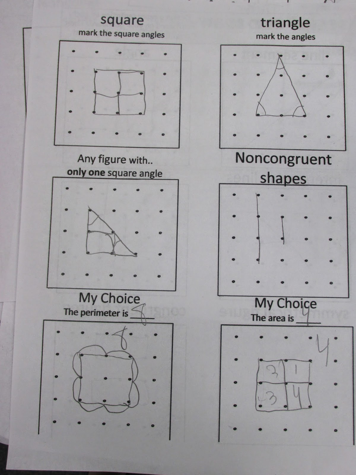 Third Grade Thinkers Geometry Vocabulary With Geoboards