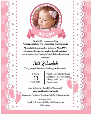 background kosong undangan aqiqah anak perempuan