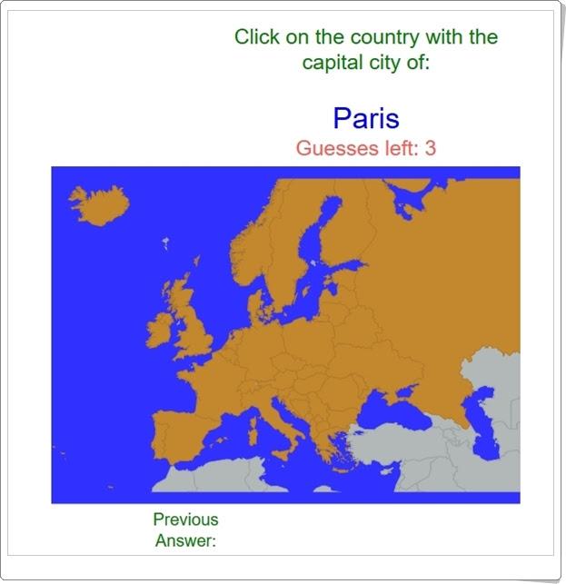 """""""Capitales de países europeos"""" (Juego de localización geográfica)"""