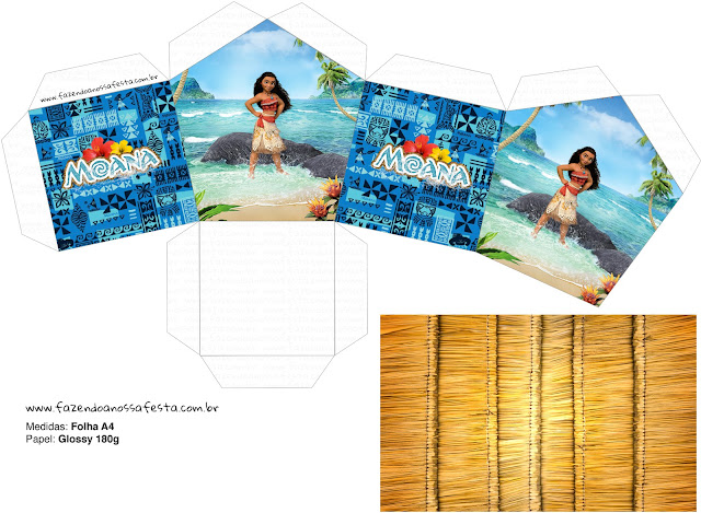 Moana House shapped Free Printable Box.