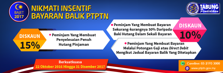 10 15 discount on ptptn education loan repayment full
