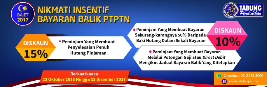 Perbadanan Tabung Pendidikan Tinggi Nasional (PTPTN) Discount on Repayment