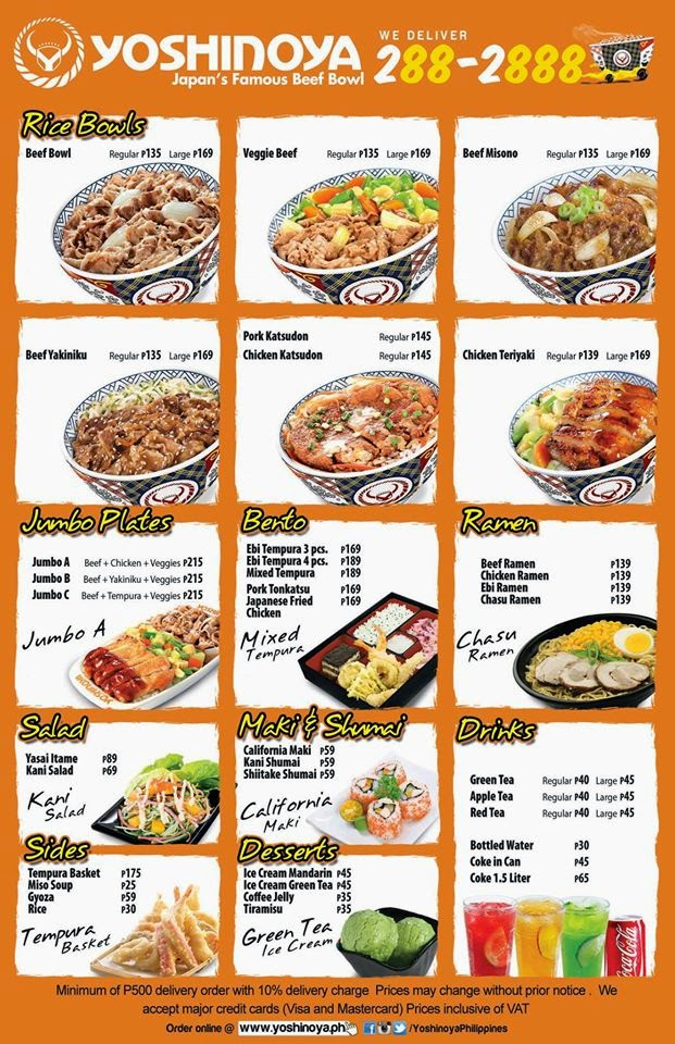 Asian Fast Food Menu
