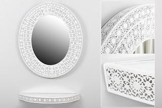 Consola con espejo blanca metalica