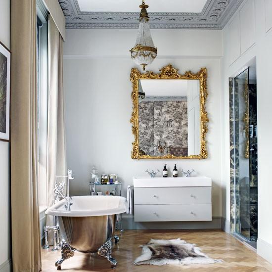 to da loos favorite bathroom photo of the week mixed metals rh todaloos com Bathroom Border Glass Mirrors Discount Bathroom Mirror