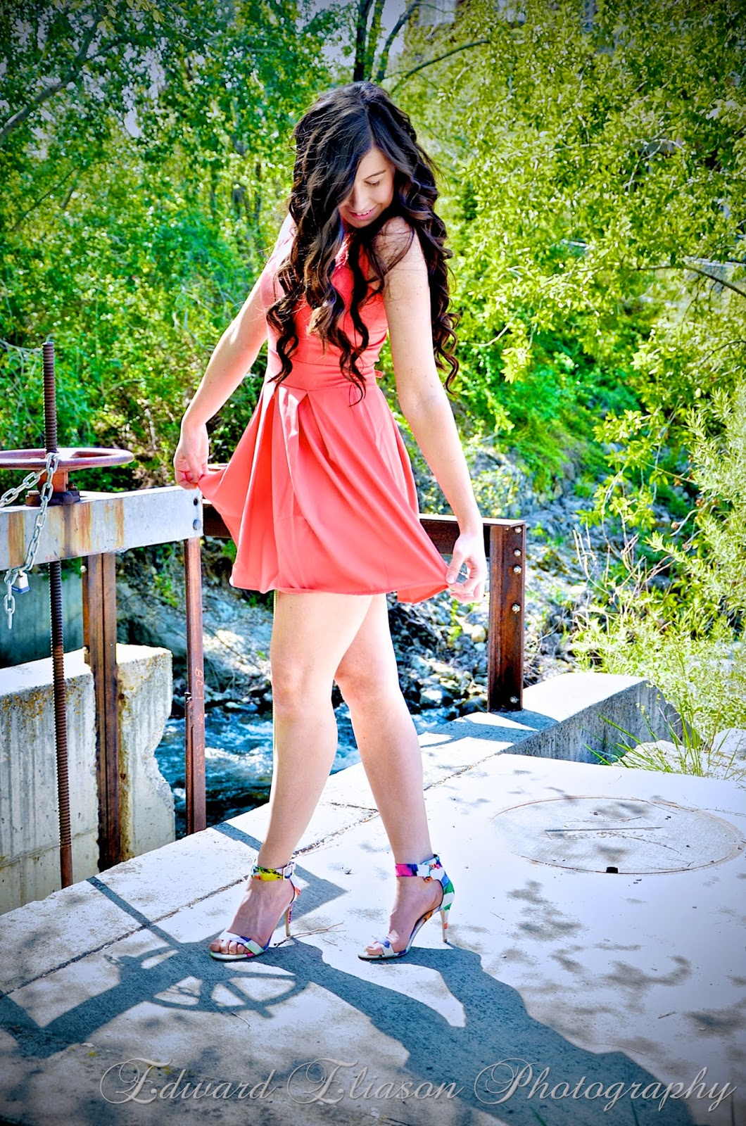 walg, floral heels, pink skater dress, skater dress, pink dress, neon pink dress, long hair brunette, beautiful hair, curly hair, wavy hair, beach hair,