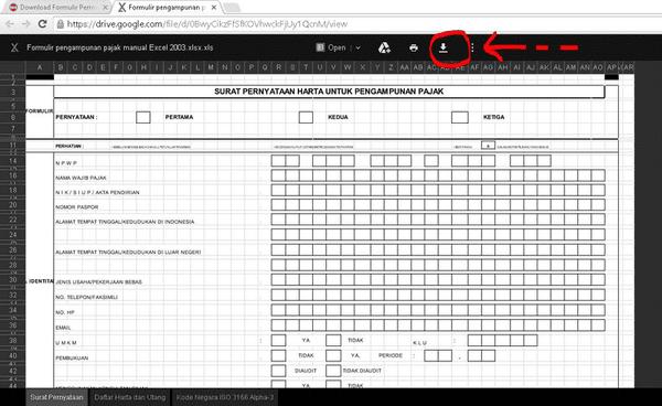 Download Formulir Permohonan Tax Amnesty Excel