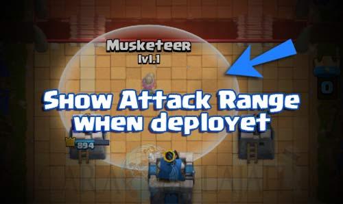 Cara menampilkan jarak serangan pasukan saat pertarungan battle di clash royale