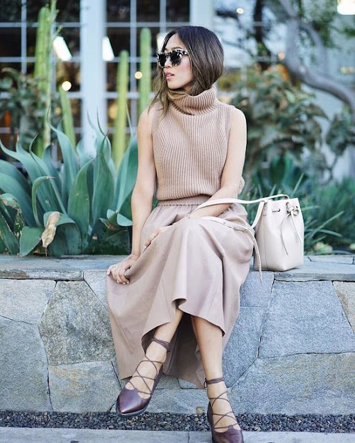 Sleeveless Turtleneck With a Feminine Skirt @songofstyle {Cool Chic Style Fashion}